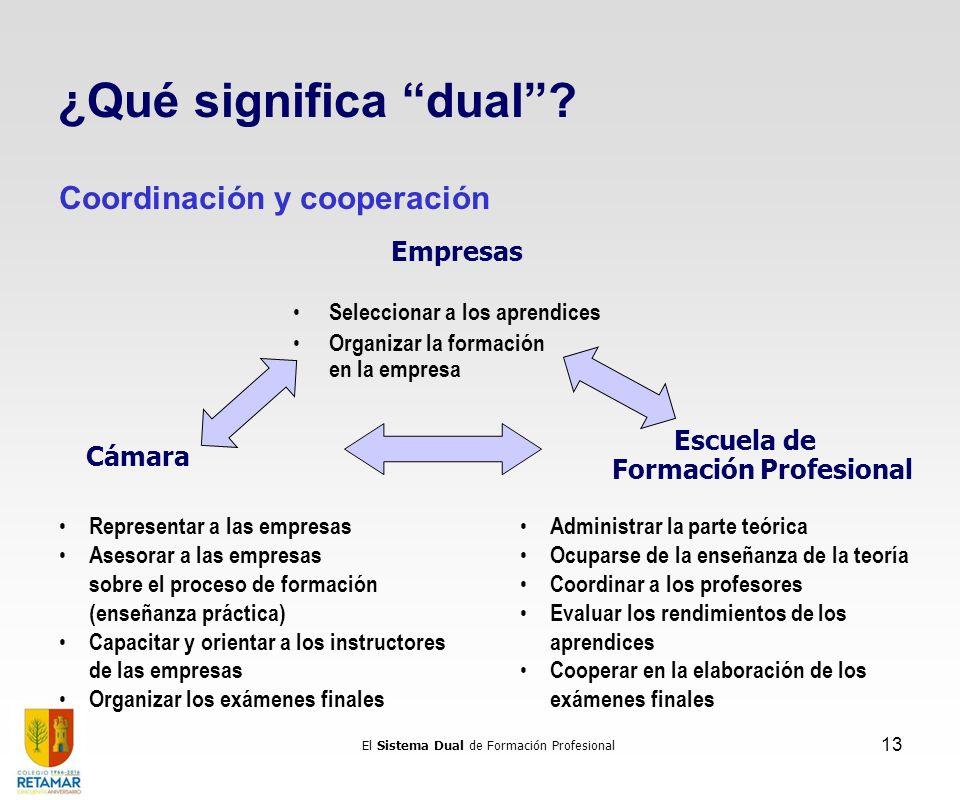 El Sistema Dual de Formación Profesional 13 Cámara Escuela de Formación Profesional Seleccionar a los aprendices Organizar la formación en la empresa