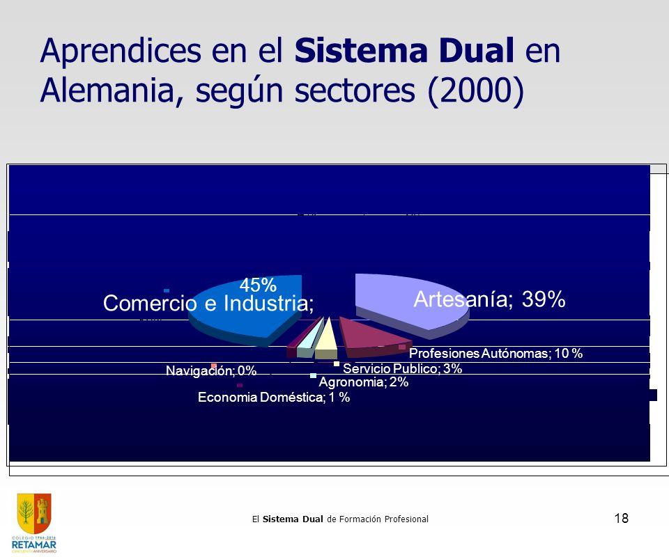 El Sistema Dual de Formación Profesional 18 Aprendices en el Sistema Dual en Alemania, según sectores (2000) Servicio Publico 3% Profesiones Libres 10