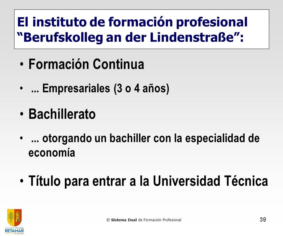 Formación Continua... Empresariales (3 o 4 años) Bachillerato... otorgando un bachiller con la especialidad de economía Título para entrar a la Univer