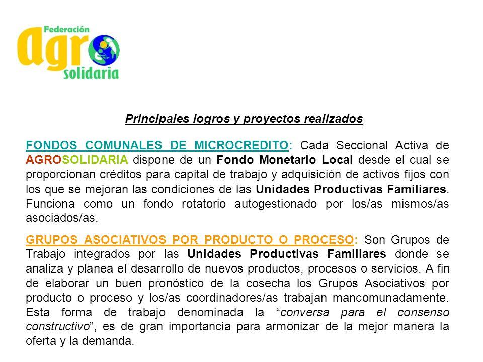 Principales logros y proyectos realizados FONDOS COMUNALES DE MICROCREDITO: Cada Seccional Activa de AGROSOLIDARIA dispone de un Fondo Monetario Local