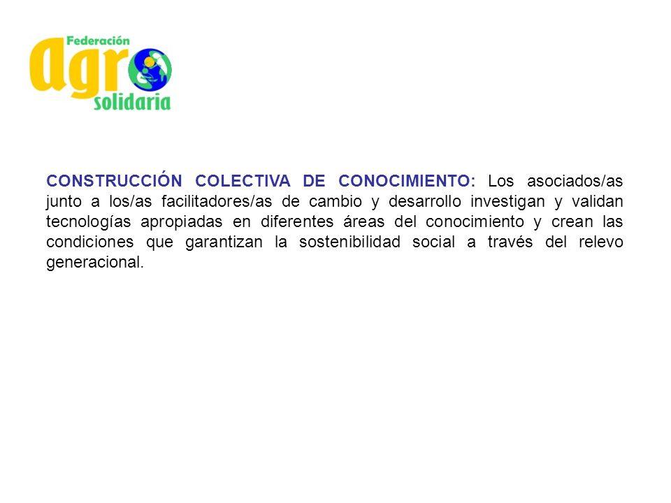 CONSTRUCCIÓN COLECTIVA DE CONOCIMIENTO: Los asociados/as junto a los/as facilitadores/as de cambio y desarrollo investigan y validan tecnologías aprop