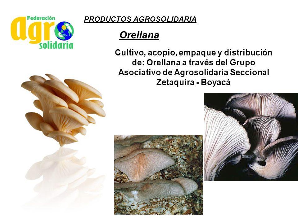 PRODUCTOS AGROSOLIDARIA Orellana Cultivo, acopio, empaque y distribución de: Orellana a través del Grupo Asociativo de Agrosolidaria Seccional Zetaquí