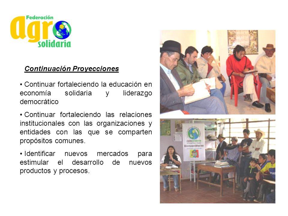 Continuación Proyecciones Continuar fortaleciendo la educación en economía solidaria y liderazgo democrático Continuar fortaleciendo las relaciones in