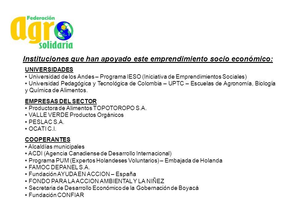 Instituciones que han apoyado este emprendimiento socio económico: UNIVERSIDADES Universidad de los Andes – Programa IESO (Iniciativa de Emprendimient