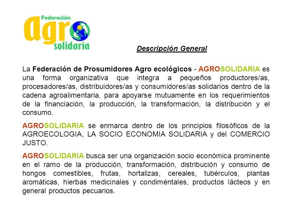 Descripción General La Federación de Prosumidores Agro ecológicos - AGROSOLIDARIA es una forma organizativa que integra a pequeños productores/as, pro