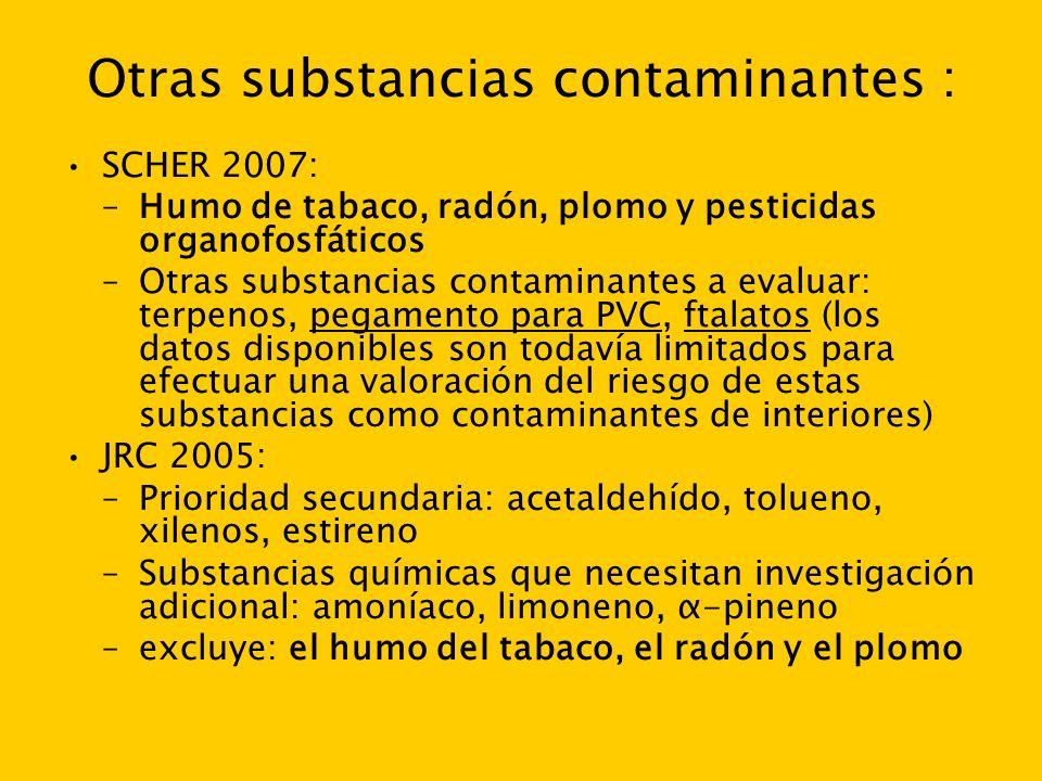 Otras substancias contaminantes : SCHER 2007: –Humo de tabaco, radón, plomo y pesticidas organofosfáticos –Otras substancias contaminantes a evaluar: