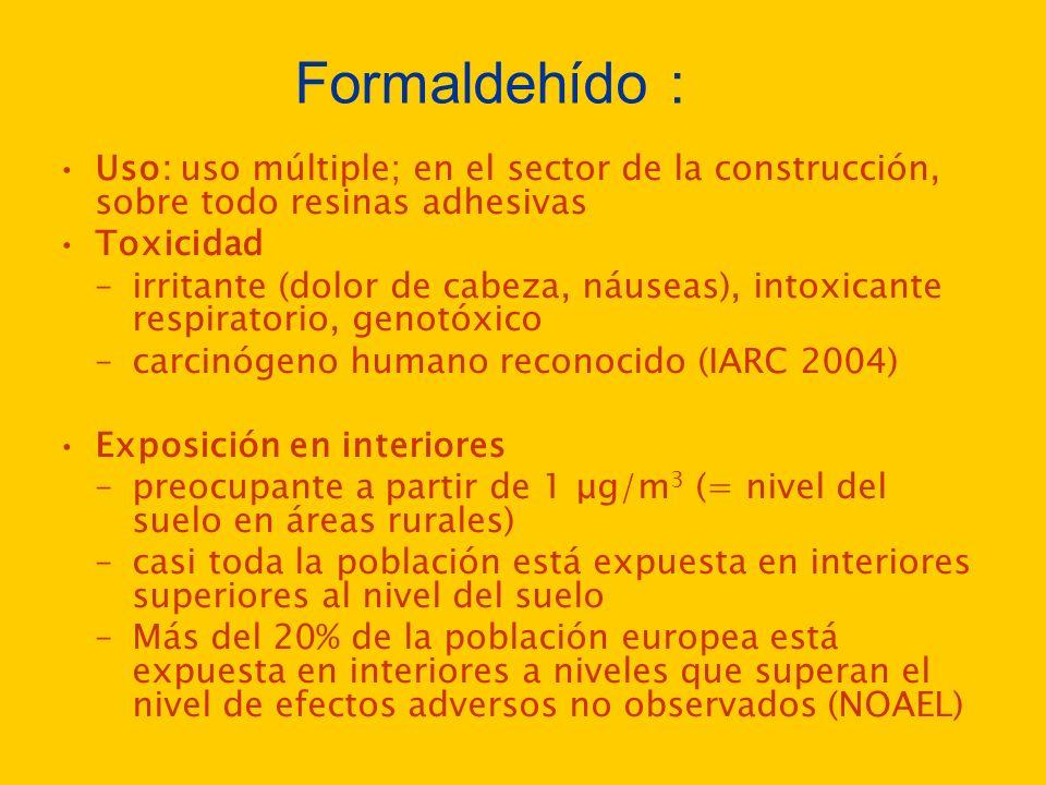 Formaldehído : Uso: uso múltiple; en el sector de la construcción, sobre todo resinas adhesivas Toxicidad –irritante (dolor de cabeza, náuseas), intox