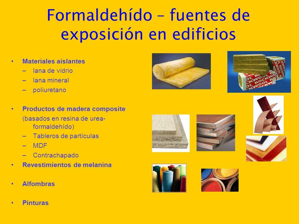 Formaldehído – fuentes de exposición en edificios Materiales aislantes –lana de vidrio –lana mineral –poliuretano Productos de madera composite (basad