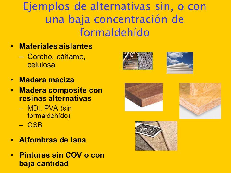 Ejemplos de alternativas sin, o con una baja concentración de formaldehído Materiales aislantes –Corcho, cáñamo, celulosa Madera maciza Madera composi