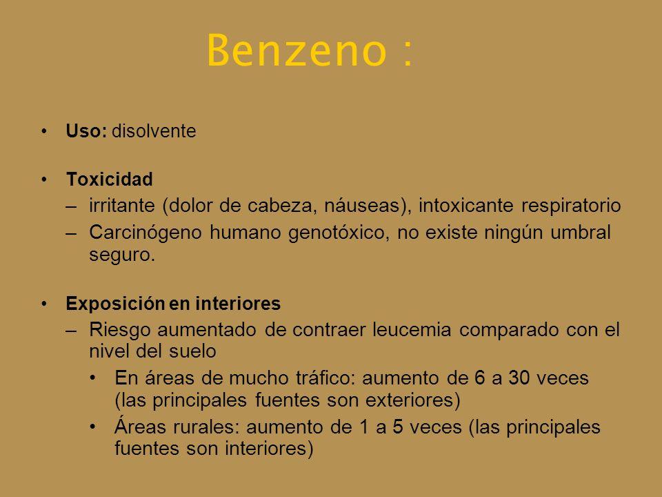 Benzeno : Uso: disolvente Toxicidad –irritante (dolor de cabeza, náuseas), intoxicante respiratorio –Carcinógeno humano genotóxico, no existe ningún u