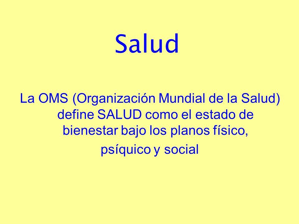 Salud La OMS (Organización Mundial de la Salud) define SALUD como el estado de bienestar bajo los planos físico, psíquico y social