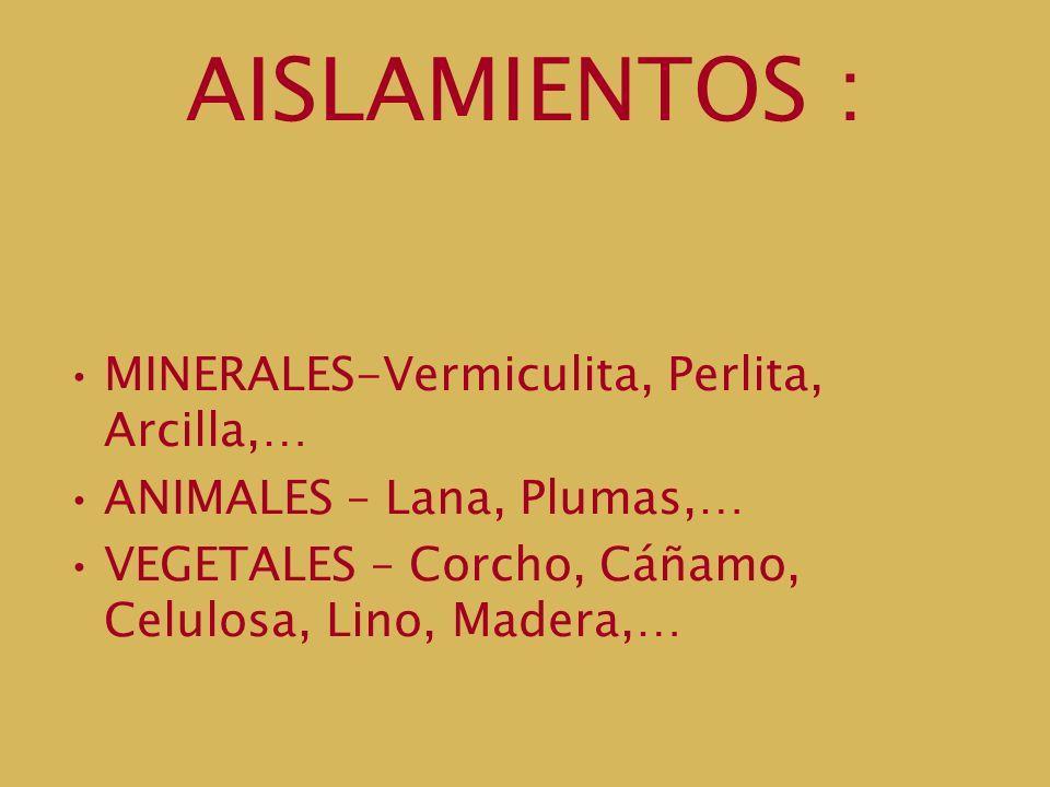 AISLAMIENTOS : MINERALES-Vermiculita, Perlita, Arcilla,… ANIMALES – Lana, Plumas,… VEGETALES – Corcho, Cáñamo, Celulosa, Lino, Madera,…