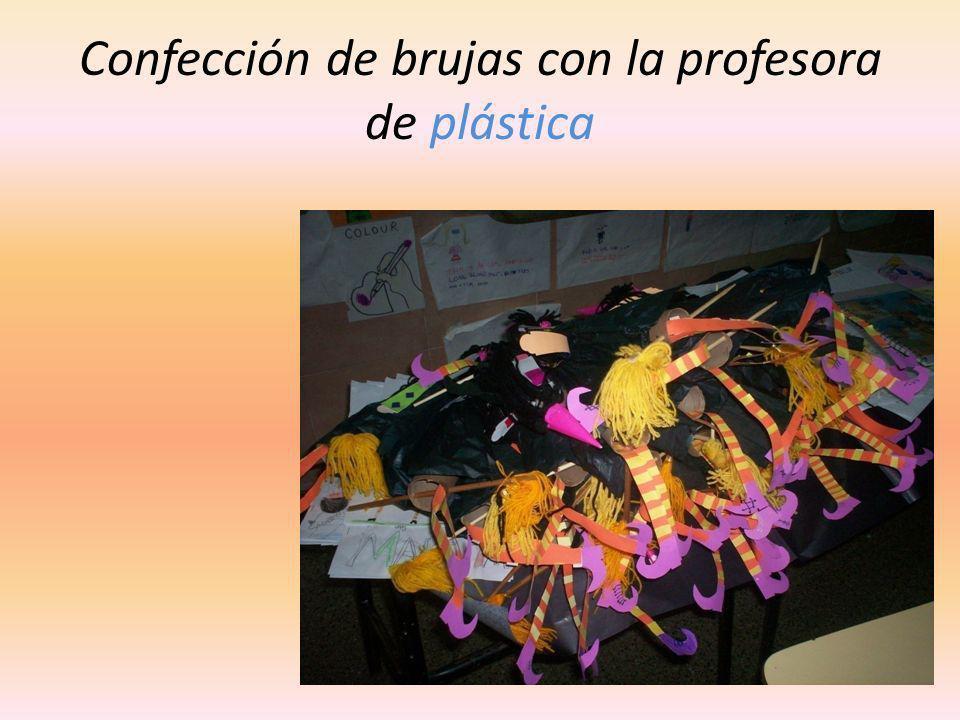Confección de brujas con la profesora de plástica