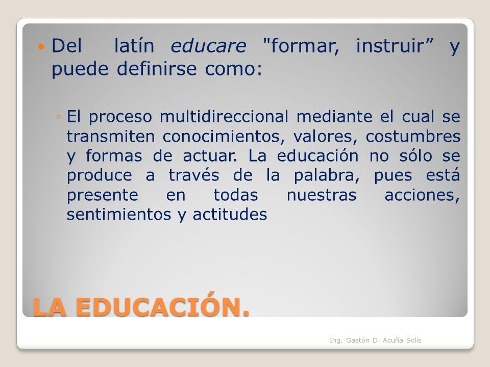 LA EDUCACIÓN. Del latín educare