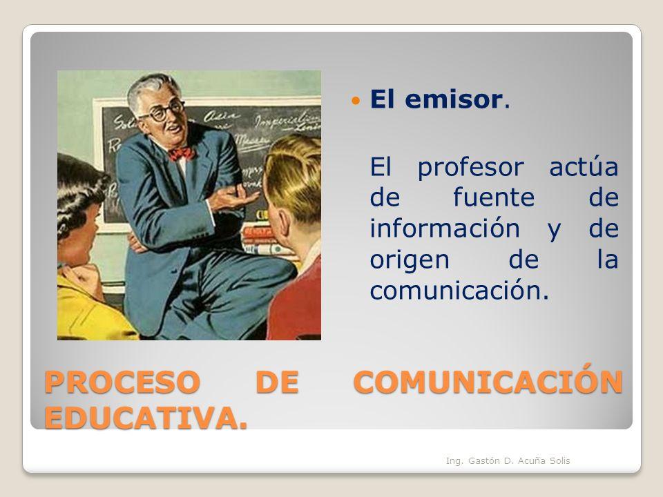 PROCESO DE COMUNICACIÓN EDUCATIVA. El emisor. El profesor actúa de fuente de información y de origen de la comunicación. Ing. Gastón D. Acuña Solis