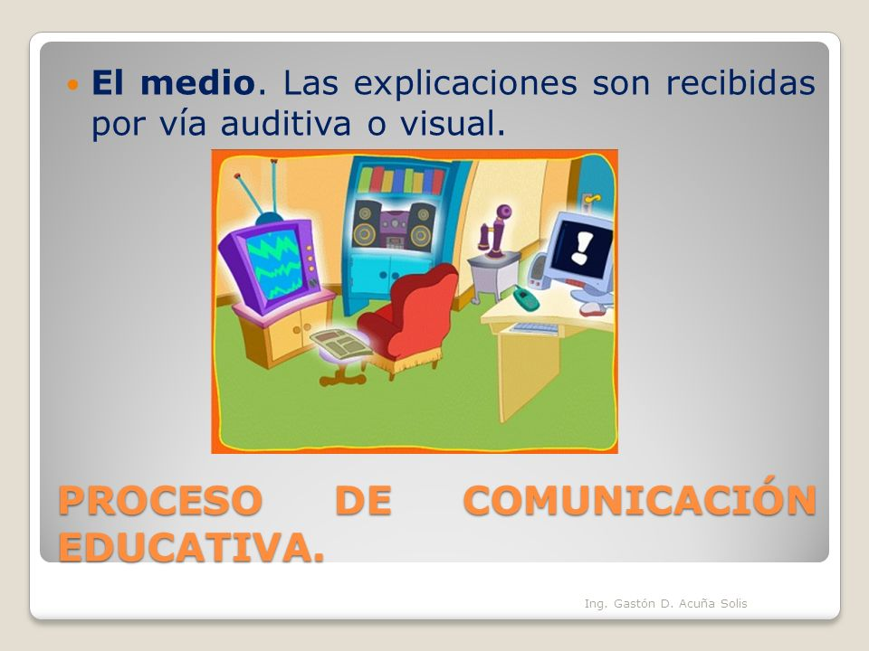 PROCESO DE COMUNICACIÓN EDUCATIVA. El medio. Las explicaciones son recibidas por vía auditiva o visual. Ing. Gastón D. Acuña Solis