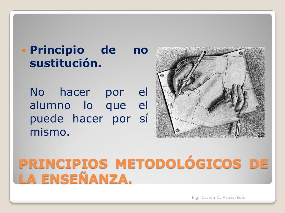 PRINCIPIOS METODOLÓGICOS DE LA ENSEÑANZA. Principio de no sustitución. No hacer por el alumno lo que el puede hacer por sí mismo. Ing. Gastón D. Acuña