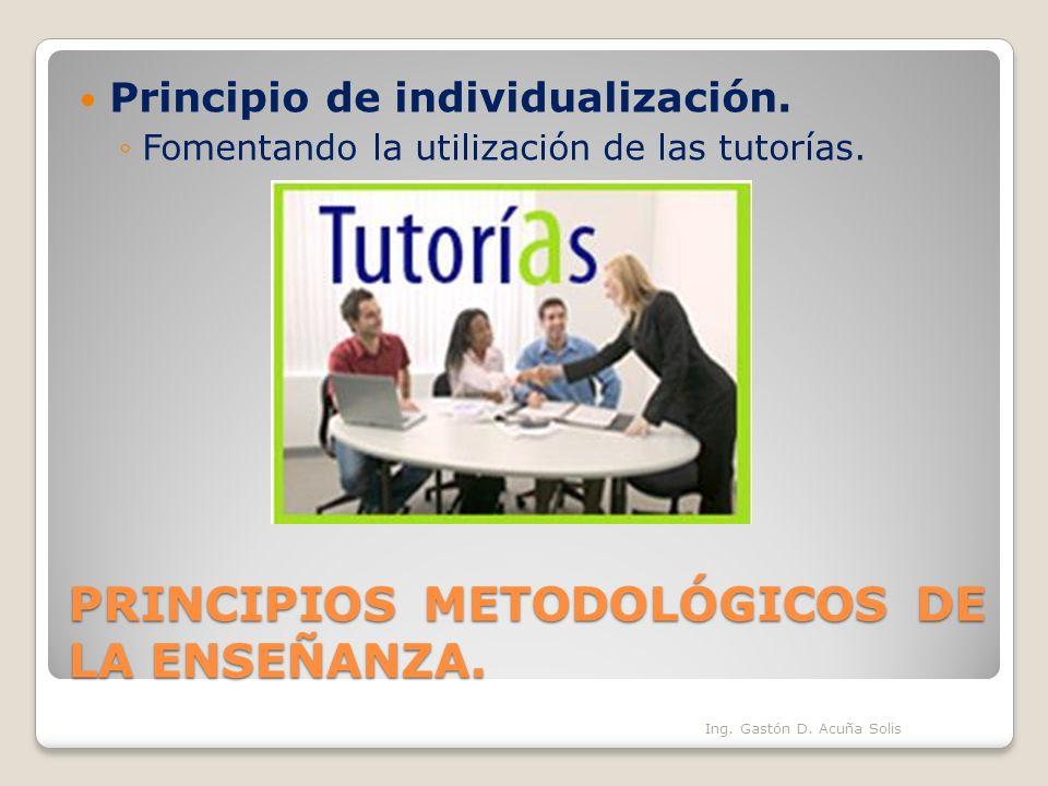 PRINCIPIOS METODOLÓGICOS DE LA ENSEÑANZA. Principio de individualización. Fomentando la utilización de las tutorías. Ing. Gastón D. Acuña Solis