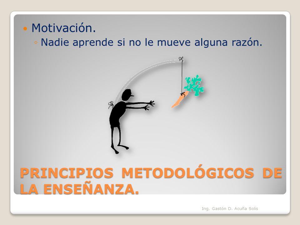 PRINCIPIOS METODOLÓGICOS DE LA ENSEÑANZA. Motivación. Nadie aprende si no le mueve alguna razón. Ing. Gastón D. Acuña Solis