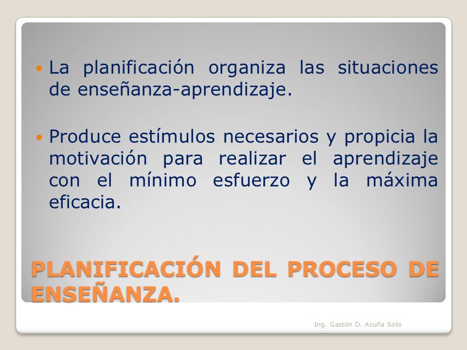 PLANIFICACIÓN DEL PROCESO DE ENSEÑANZA. La planificación organiza las situaciones de enseñanza-aprendizaje. Produce estímulos necesarios y propicia la
