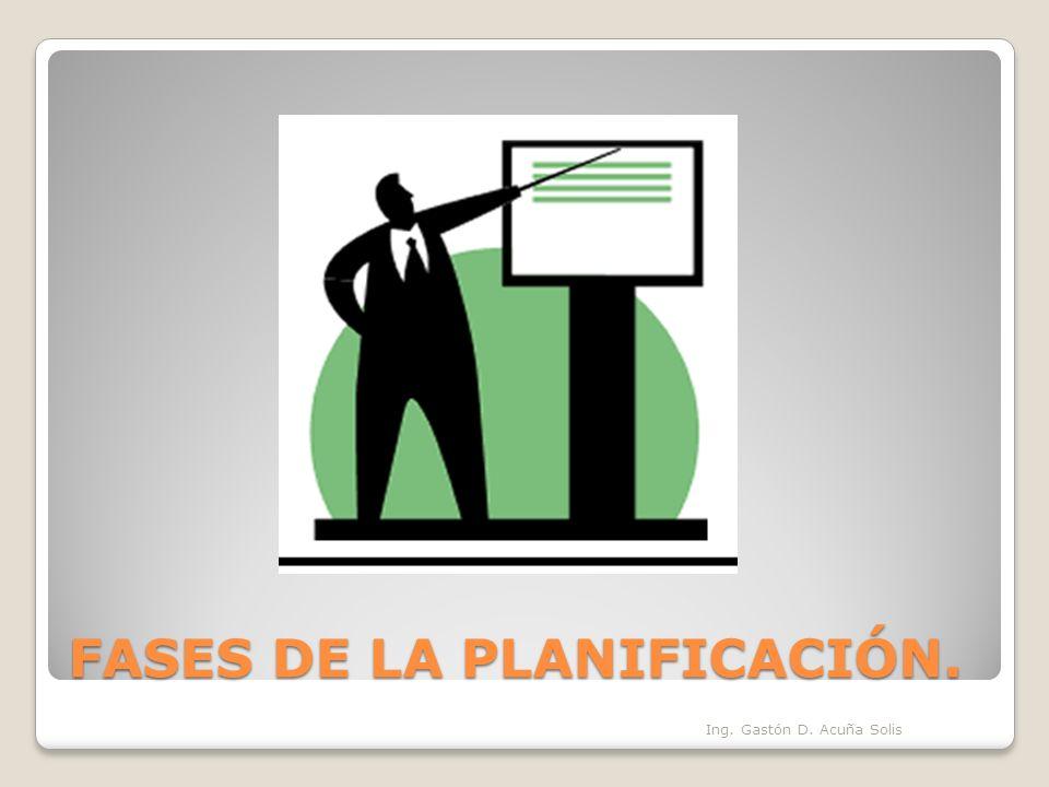 FASES DE LA PLANIFICACIÓN. Ing. Gastón D. Acuña Solis