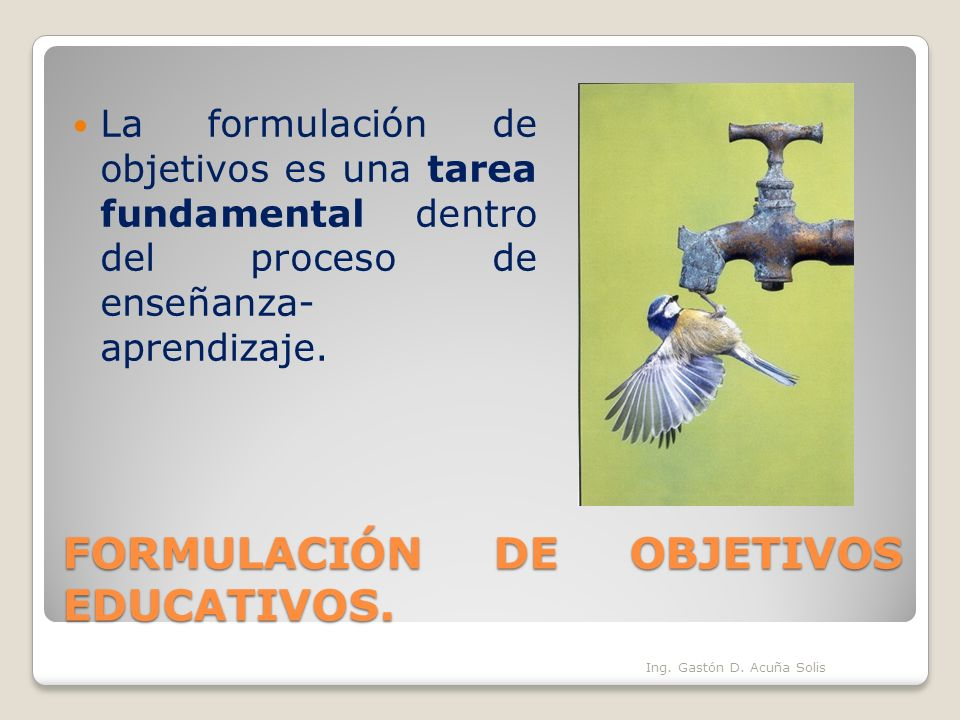FORMULACIÓN DE OBJETIVOS EDUCATIVOS. La formulación de objetivos es una tarea fundamental dentro del proceso de enseñanza- aprendizaje. Ing. Gastón D.