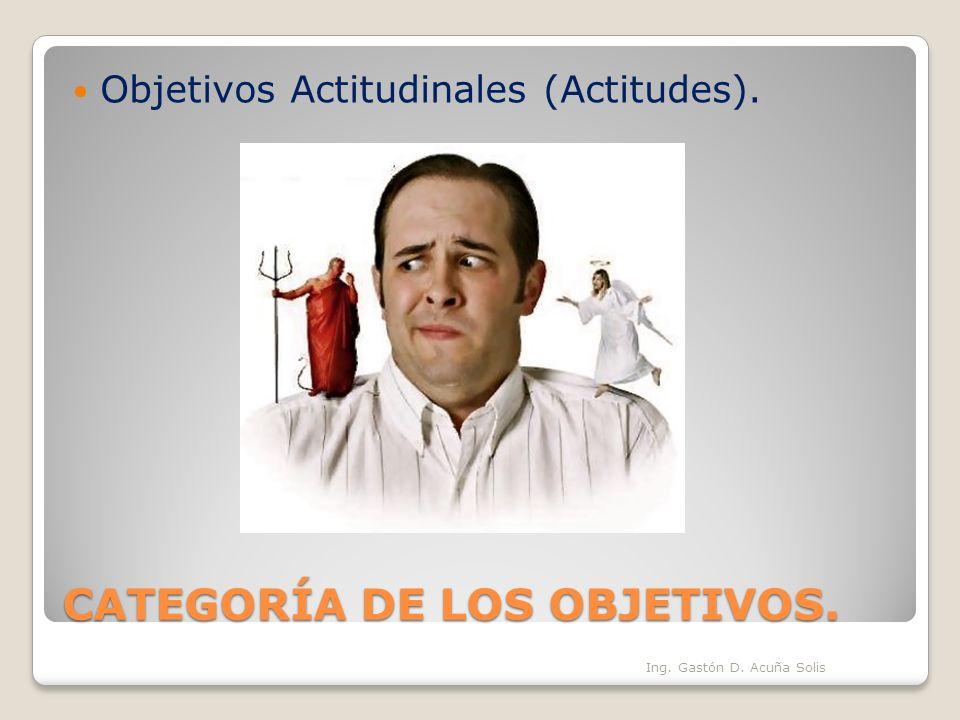 CATEGORÍA DE LOS OBJETIVOS. Objetivos Actitudinales (Actitudes). Ing. Gastón D. Acuña Solis