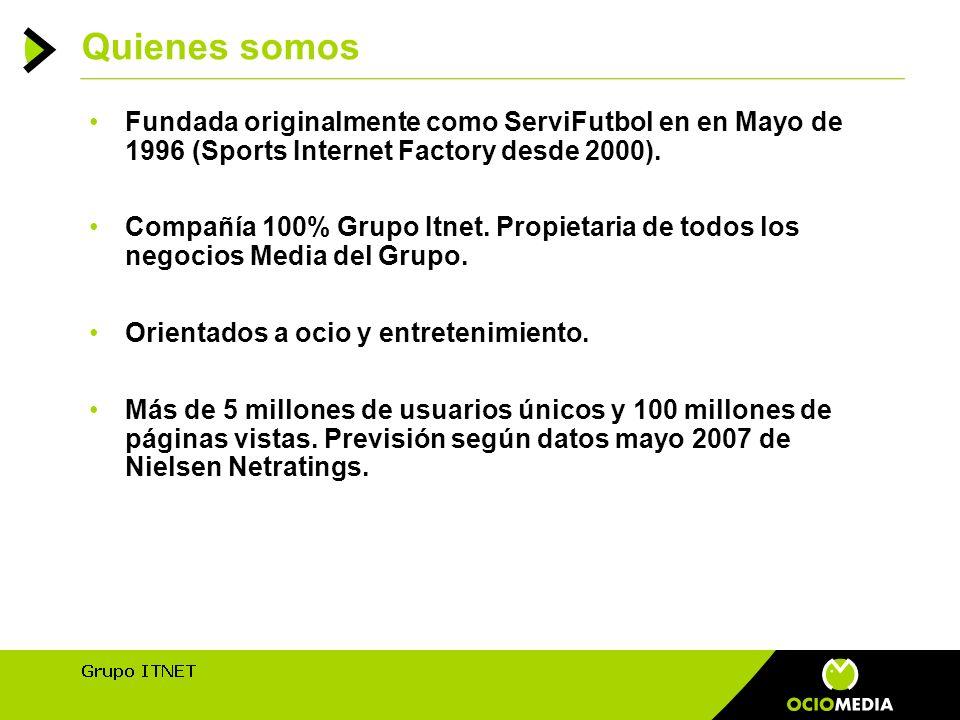 Quienes somos Fundada originalmente como ServiFutbol en en Mayo de 1996 (Sports Internet Factory desde 2000).