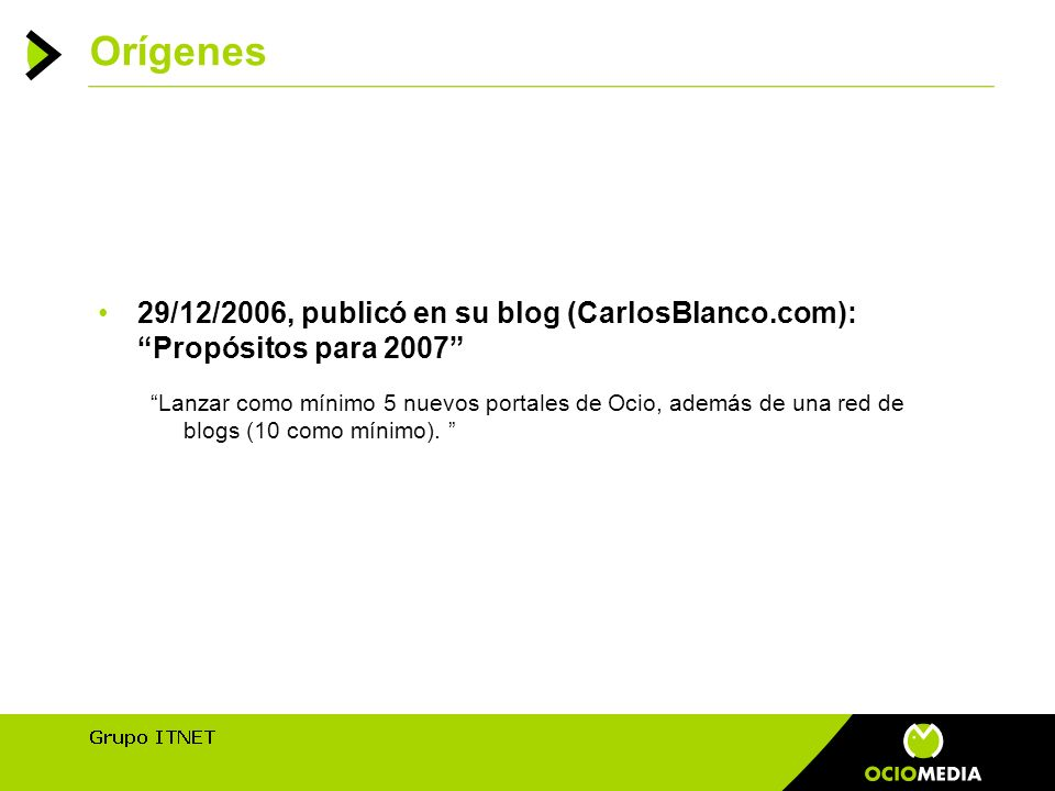 Orígenes 29/12/2006, publicó en su blog (CarlosBlanco.com): Propósitos para 2007 Lanzar como mínimo 5 nuevos portales de Ocio, además de una red de blogs (10 como mínimo).