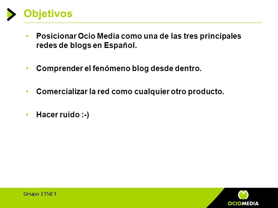 Objetivos Posicionar Ocio Media como una de las tres principales redes de blogs en Español.