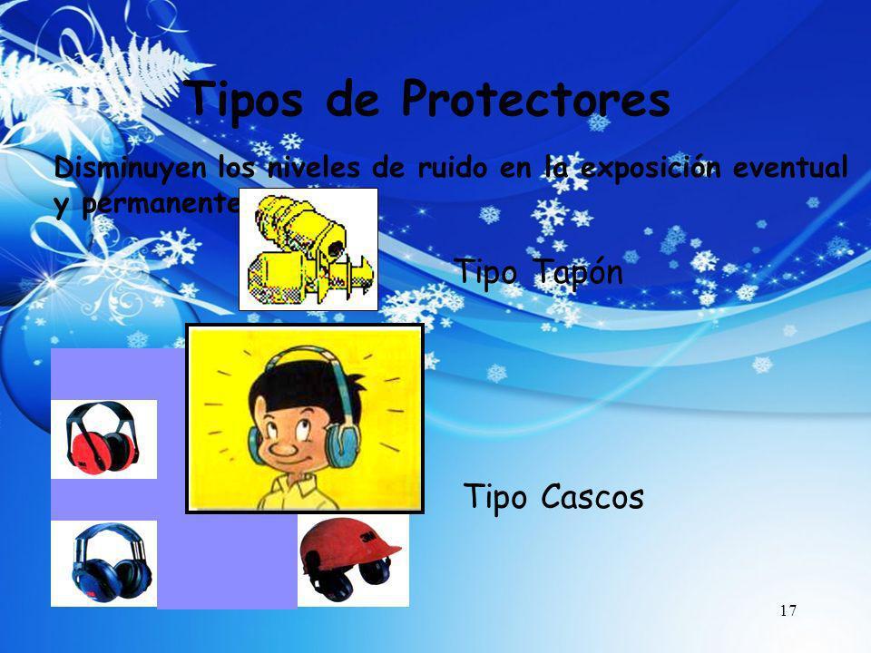 17 Tipos de Protectores Tipo Cascos Disminuyen los niveles de ruido en la exposición eventual y permanente Tipo Tapón