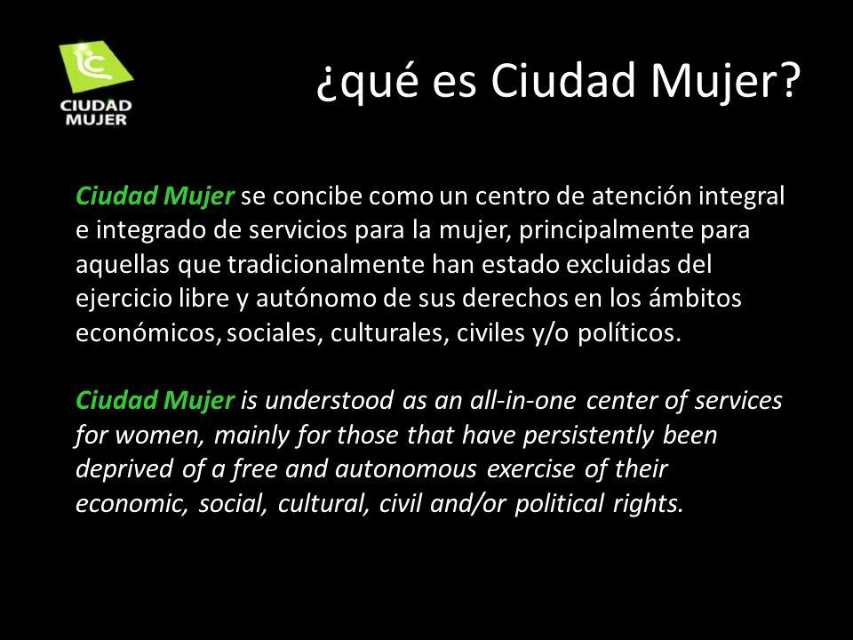 ¿qué es Ciudad Mujer? Ciudad Mujer se concibe como un centro de atención integral e integrado de servicios para la mujer, principalmente para aquellas