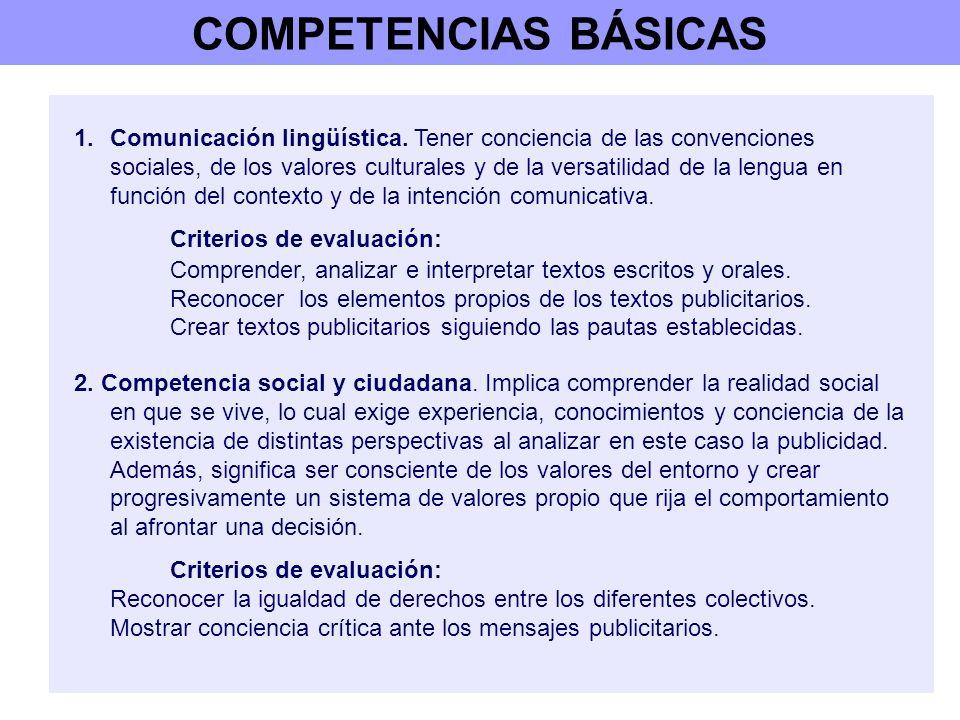 COMPETENCIAS BÁSICAS 1.Comunicación lingüística. Tener conciencia de las convenciones sociales, de los valores culturales y de la versatilidad de la l