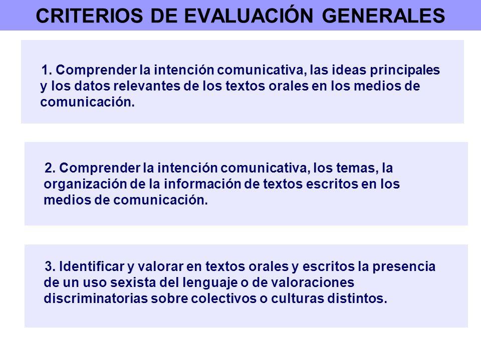 CRITERIOS DE EVALUACIÓN GENERALES 1. Comprender la intención comunicativa, las ideas principales y los datos relevantes de los textos orales en los me