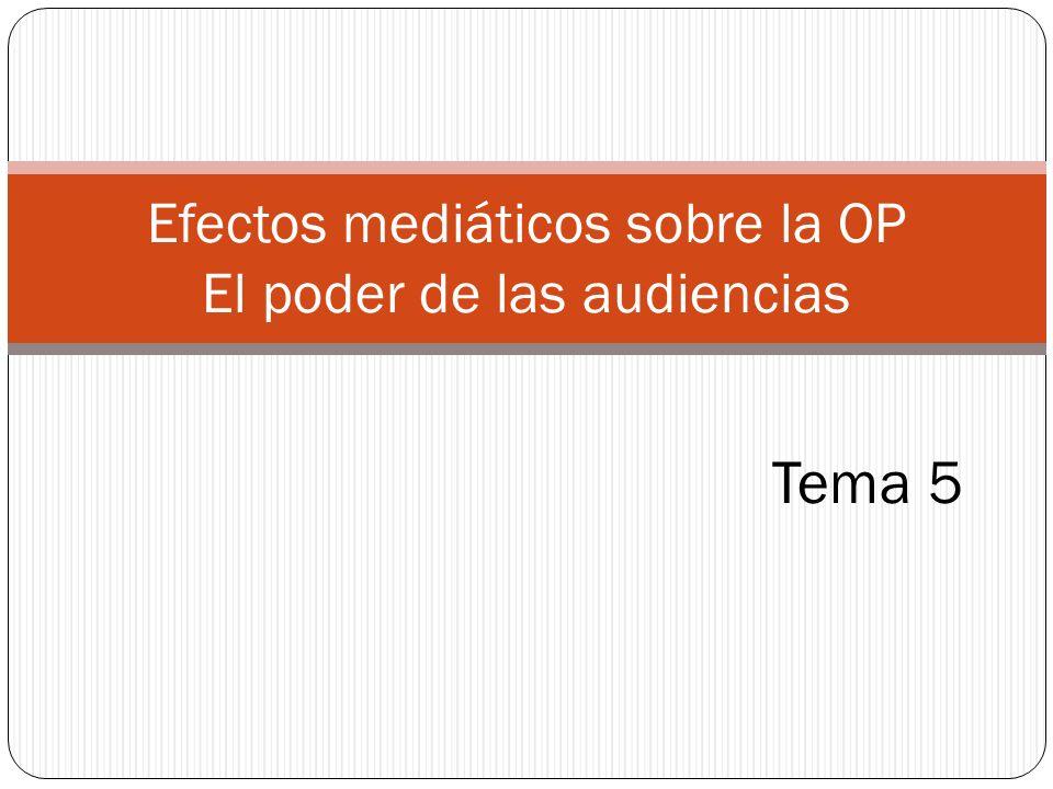 Tema 5 Efectos mediáticos sobre la OP El poder de las audiencias