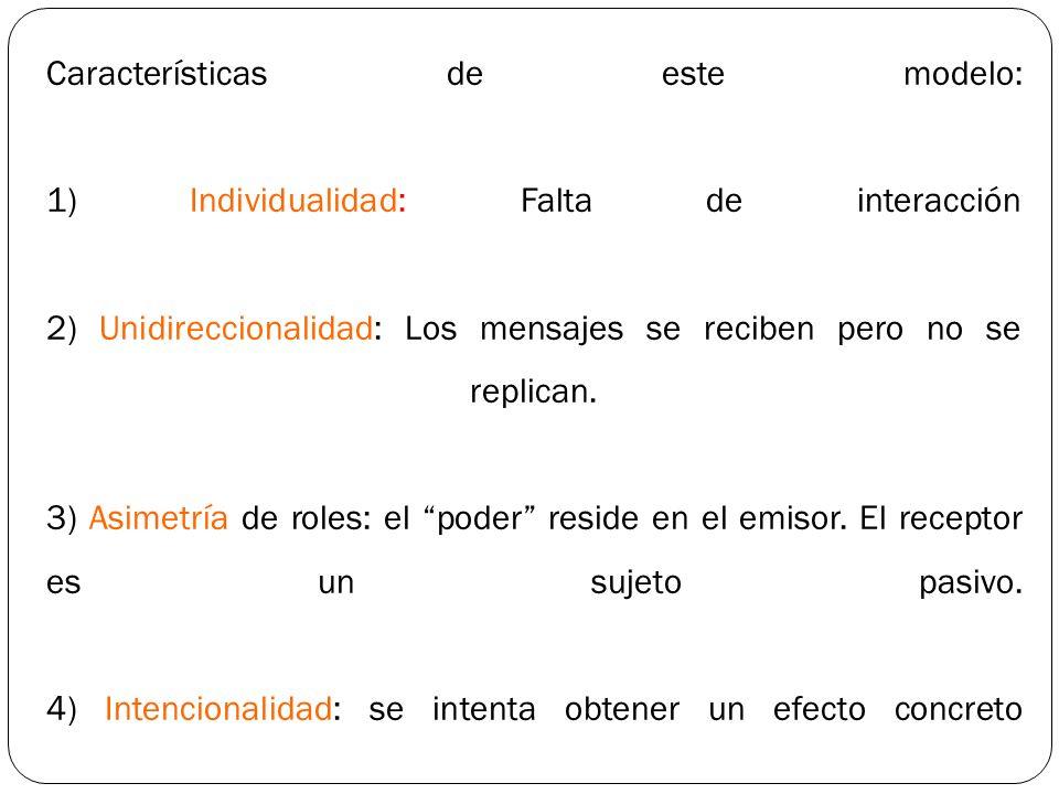 Características de este modelo: 1) Individualidad: Falta de interacción 2) Unidireccionalidad: Los mensajes se reciben pero no se replican. 3) Asimetr