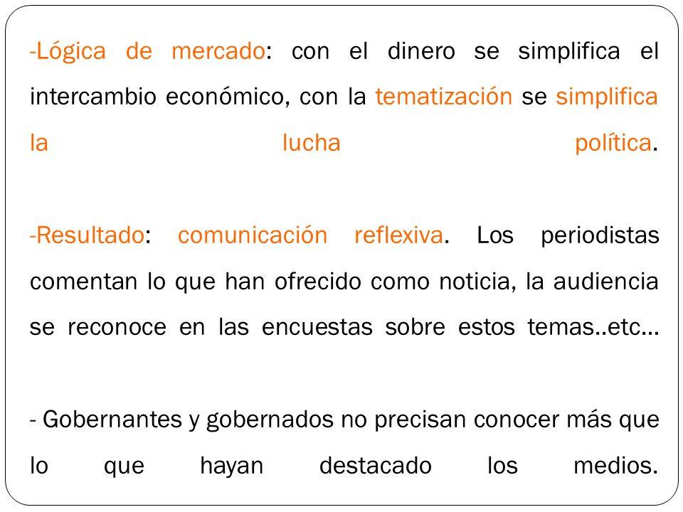 -Lógica de mercado: con el dinero se simplifica el intercambio económico, con la tematización se simplifica la lucha política. -Resultado: comunicació
