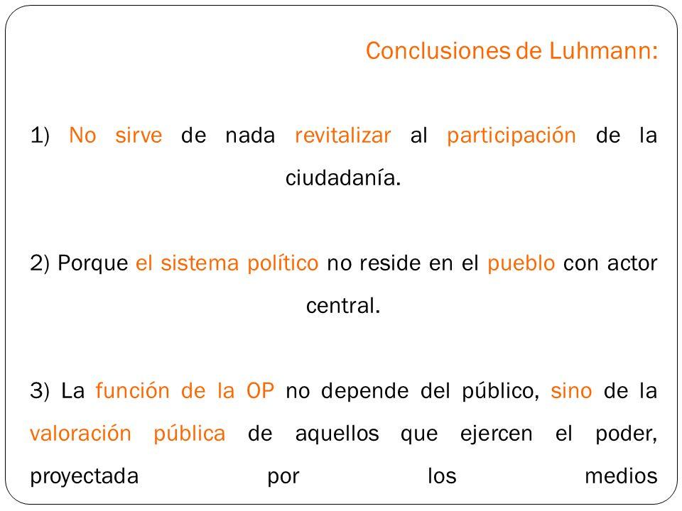 Conclusiones de Luhmann: 1) No sirve de nada revitalizar al participación de la ciudadanía. 2) Porque el sistema político no reside en el pueblo con a