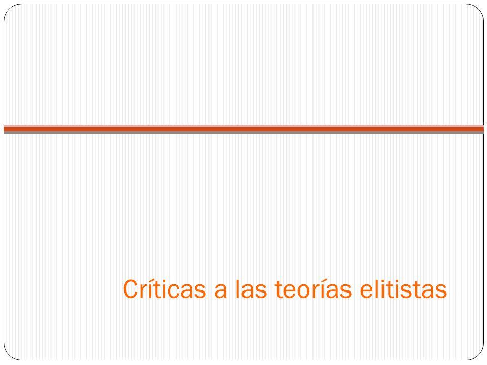 Críticas a las teorías elitistas