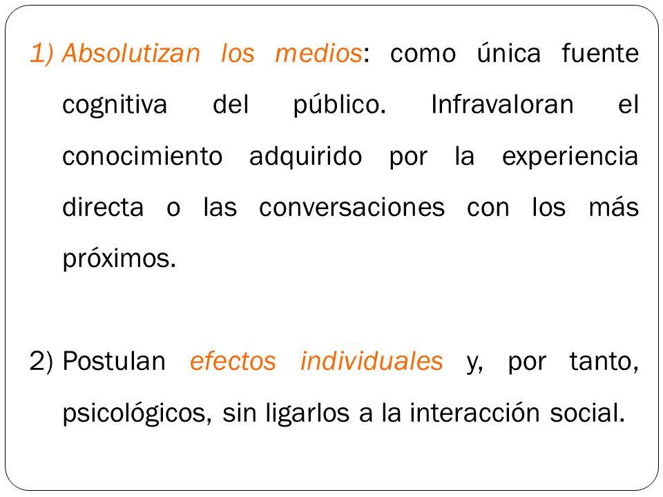1)Absolutizan los medios: como única fuente cognitiva del público. Infravaloran el conocimiento adquirido por la experiencia directa o las conversacio