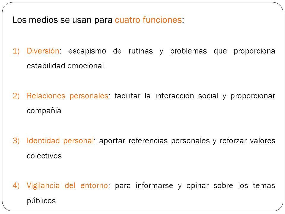 Los medios se usan para cuatro funciones: 1)Diversión: escapismo de rutinas y problemas que proporciona estabilidad emocional. 2)Relaciones personales
