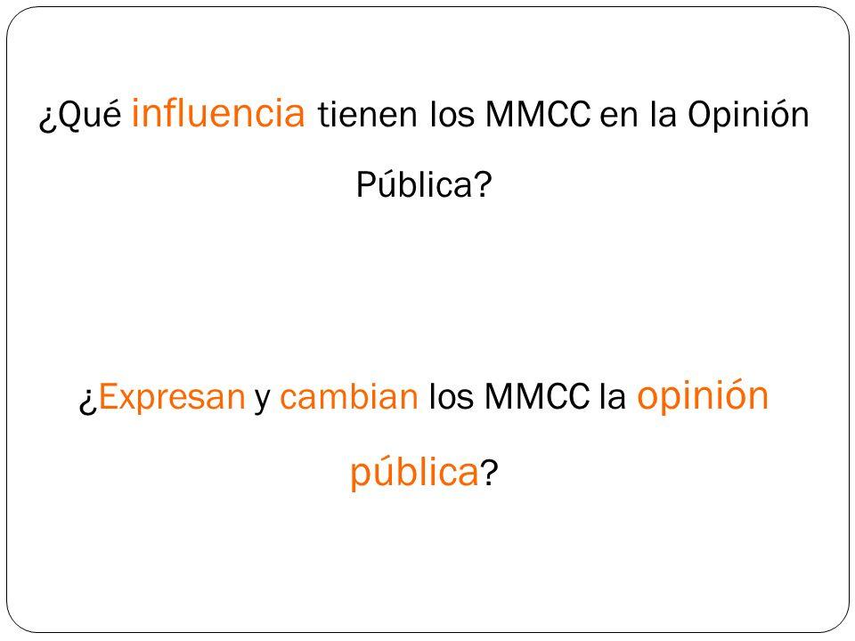 ¿Qué influencia tienen los MMCC en la Opinión Pública? ¿Expresan y cambian los MMCC la opinión pública ?