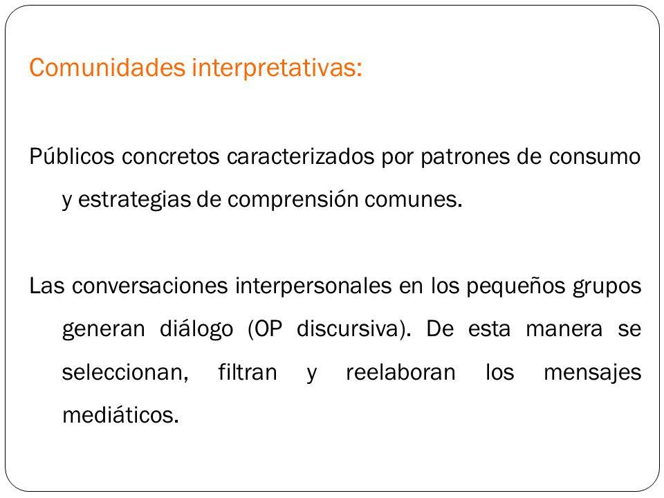 Comunidades interpretativas: Públicos concretos caracterizados por patrones de consumo y estrategias de comprensión comunes. Las conversaciones interp