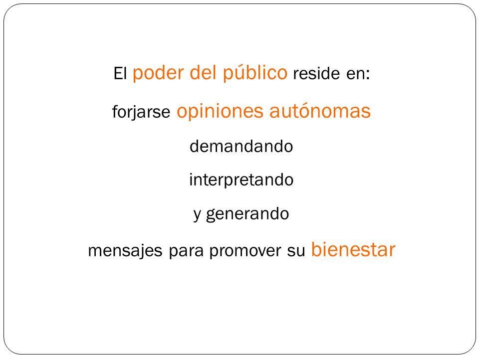 El poder del público reside en: forjarse opiniones autónomas demandando interpretando y generando mensajes para promover su bienestar