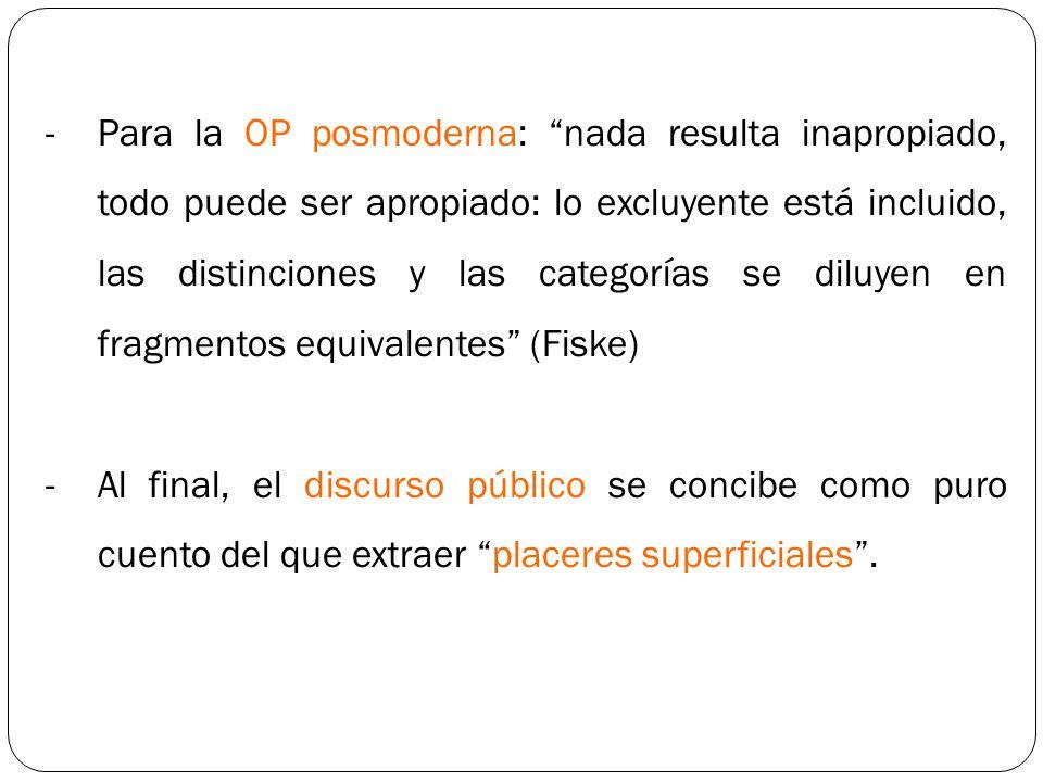 -Para la OP posmoderna: nada resulta inapropiado, todo puede ser apropiado: lo excluyente está incluido, las distinciones y las categorías se diluyen