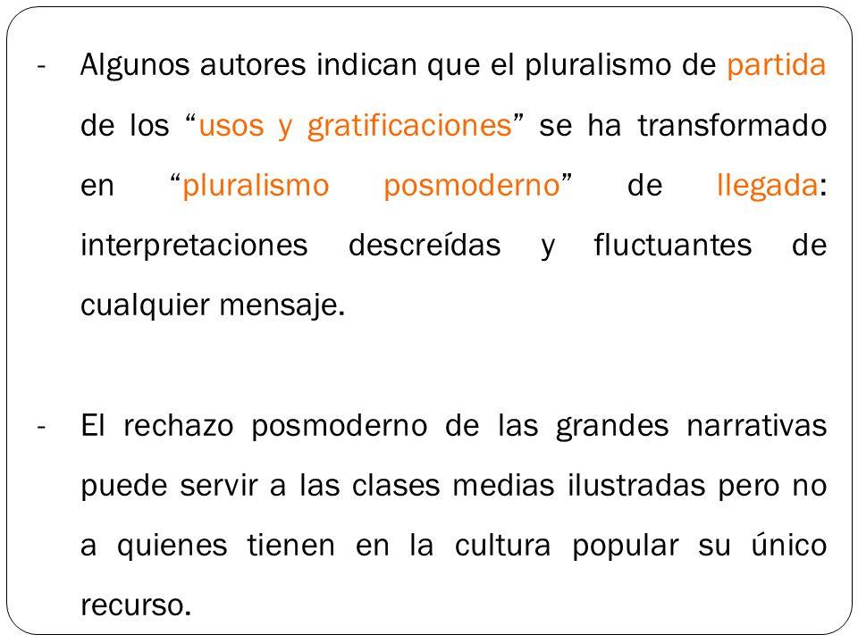 -Algunos autores indican que el pluralismo de partida de los usos y gratificaciones se ha transformado en pluralismo posmoderno de llegada: interpreta