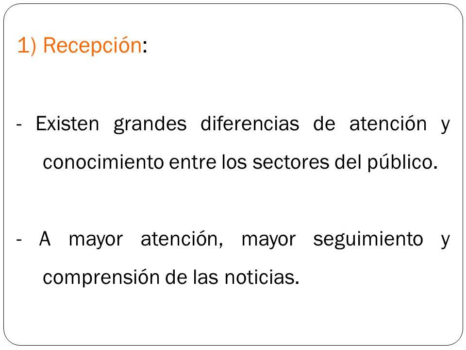 1)Recepción: - Existen grandes diferencias de atención y conocimiento entre los sectores del público. - A mayor atención, mayor seguimiento y comprens
