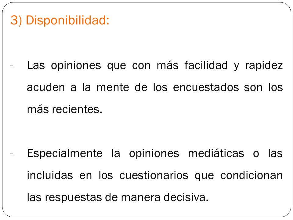 3) Disponibilidad: -Las opiniones que con más facilidad y rapidez acuden a la mente de los encuestados son los más recientes. -Especialmente la opinio