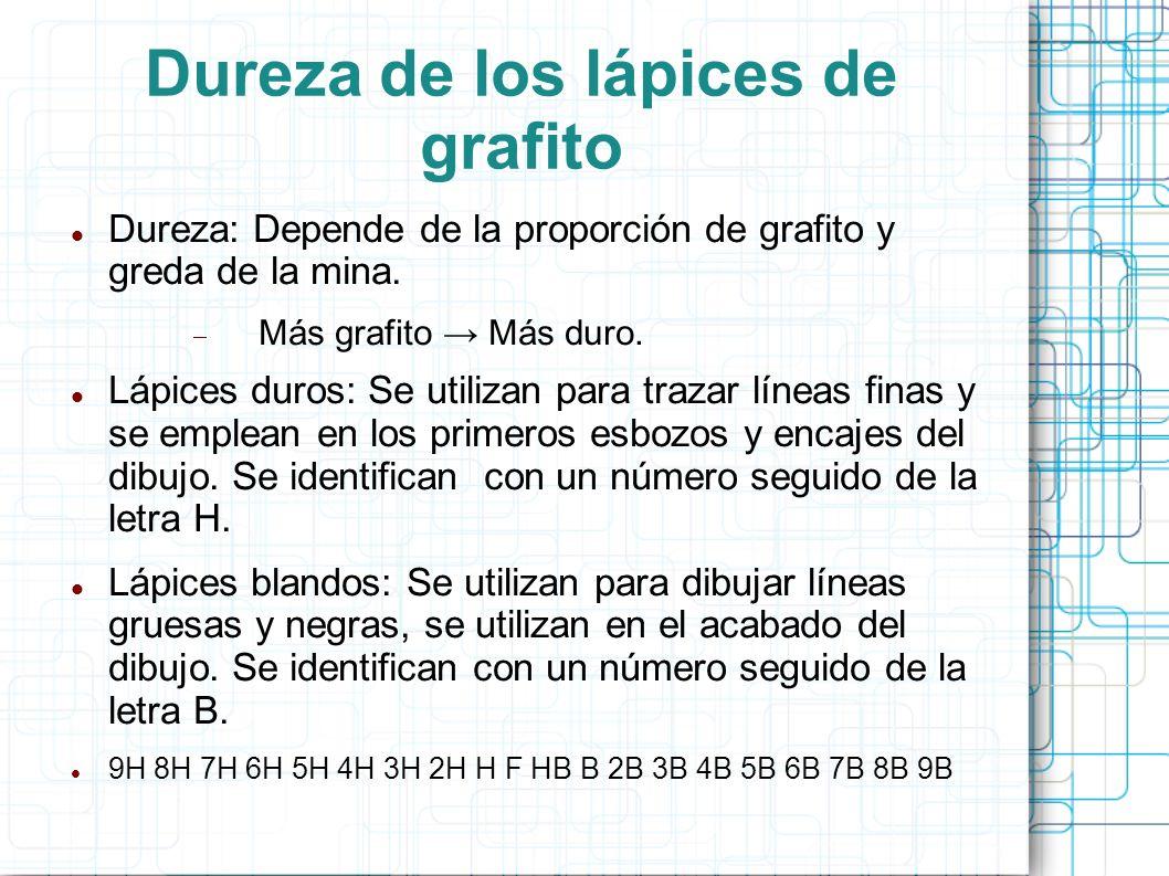 Dureza de los lápices de grafito Dureza: Depende de la proporción de grafito y greda de la mina. Más grafito Más duro. Lápices duros: Se utilizan para