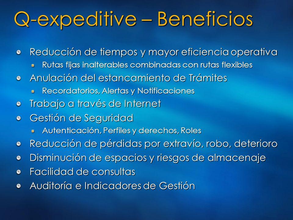 Q-expeditive – Beneficios Reducción de tiempos y mayor eficiencia operativa Rutas fijas inalterables combinadas con rutas flexibles Anulación del esta